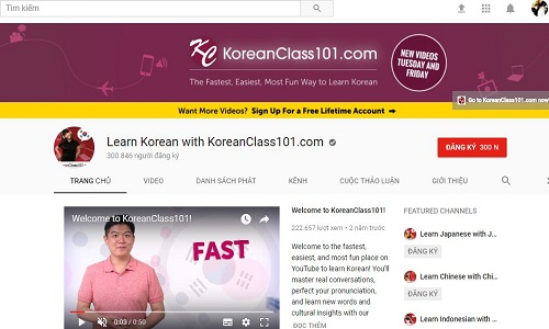 KoreanClass101 Youtube Channel